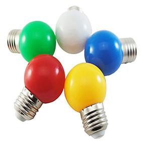 billige Globepærer med LED-5 stk. Farget e27 1w energibesparende 6 ledet pærer globe lampe diy hvit grønn gul blå rød farge lyse ac220-240v