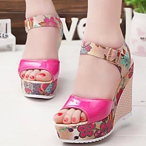 cheap Wedge Sandals-Women's Faux Leather Spring / Summer Comfort Sandals Wedge Heel Peep Toe Buckle Beige / Fuchsia / Blue