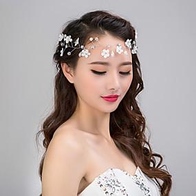baratos Tiaras-Chifon / Imitação de Pérola / Renda Headbands / Flores / Grinaldas com 1 Casamento / Ocasião Especial / Casual Capacete