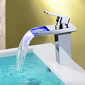 billige Krom Series-Moderne Centersat Foss LED Keramisk Ventil Et Hull Enkelt Håndtak Et Hull Krom , Baderom Sink Tappekran