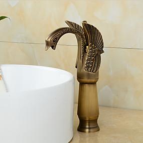 billige bad Series-Baderom Sink Tappekran - Roterbar Antikk Kobber Centersat Et Hull / Enkelt Håndtak Et Hull