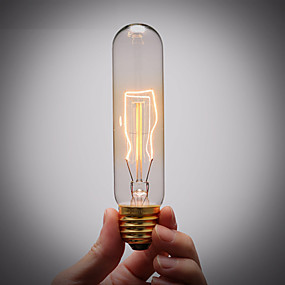 billige Glødelampe-1pc 40 W E26 / E27 T10 Varm hvit 2300 k Glødende Vintage Edison lyspære 220-240 V / 110-130 V