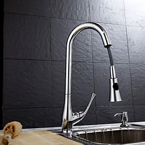 abordables Spray Amovible-Moderne Pull-out / Pull-down Montage Avec spray démontable Soupape céramique Mitigeur un trou Fileté, Robinet de Cuisine