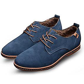 baratos Oxfords Masculinos-Homens Sapatos de couro Camurça Primavera / Outono Oxfords Antiderrapante Preto / Azul / Marron / Festas & Noite / Cadarço / Festas & Noite / Sapatos de camurça / Sapatas de novidade