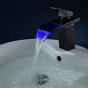 povoljno Slavine-Kupaonica Sudoper pipa - LED Lakirana bronca Središnje pozicionirane Jedan Ručka jedna rupaBath Taps