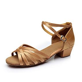 abordables Chaussures de Danse-Femme Chaussures de danse Satin Chaussures Latines Ruban Sandale / Talon / Basket Talon Bottier Personnalisables Argenté / Marron / Doré / Intérieur / Utilisation / Entraînement / Professionnel