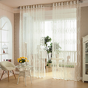 cheap Specials & Offers-Two Panels Modern Stripe White Bedroom Polyester Sheer Curtains Shades