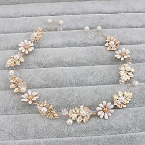 baratos Tiaras-Imitação de Pérola Headbands / Decoração de Cabelo com Floral 1pç Casamento / Ocasião Especial / Casual Capacete