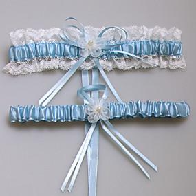 billige Strømpebånd til bryllup-Blonder / Sateng Mote Bryllupsklær Med Blonder / Blomst Strømpebånd