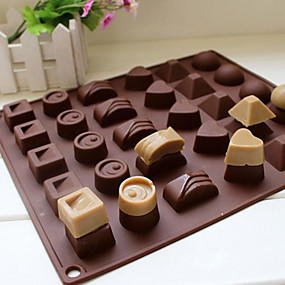 cheap Ice Tools-30 Cavity Silicone Heart Round Chocolate Mold Ice Cube Tray Mould