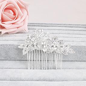 baratos Tiaras-Strass Pentes de cabelo / Decoração de Cabelo com Floral 1pç Casamento / Ocasião Especial / Casual Capacete