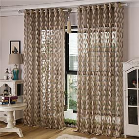 billige Gjennomsiktige gardiner-To paneler Rustikk / Moderne / Neoklassisk / Middelhavet / Europeisk Solid / Stripe / Blomster / botanikk / Geometrisk / Kurv / Tegneserie