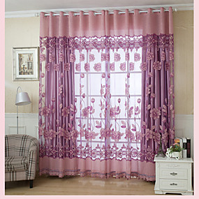 ราคาถูก ผ้าม่าน-Country เฉดสีผ้าม่านเชียร์ หนึ่งช่อง ห้องนั่งเล่น   Curtains / วิธีลงลวดลายลงในเนื้อผ้า / Living Room