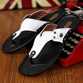 baratos Sandálias e Chinelos Masculinos-Homens Sapatos Confortáveis Couro Primavera / Verão Chinelos e flip-flops Preto / Branco / Laranja / Tachas