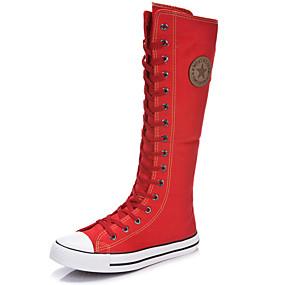 ieftine Papuci & Genți-Pentru femei Pantofi Pânză Primăvară / Vară Cizme la Modă Cizme Toc Drept Vârf rotund / Vârf Închis Cizme înalte Fermoar / Dantelă Alb /