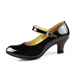 """cheap Shoes & Bags-Shall We® Women's Modern Ballroom PU Leather Patent Leather Heel Buckle Cuban Heel Burgundy Black Red Silver Gold 2"""" - 2 3/4"""" Non Customizable by Shall We®"""