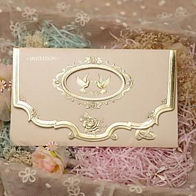 """voordelige Feestbedankjes & cadeaus-Drie-voudige Vouw Uitnodigingen van het Huwelijk 50 - Uitnodigingskaarten Klassieke Stijl Parel Papier 7 1 / 5 """"X 5"""" (18,4 * 12.8Cm)"""
