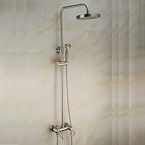 cheap Home Improvement-Shower Faucet - Antique Nickel Brushed Centerset Ceramic Valve Bath Shower Mixer Taps / Brass / Single Handle Two Holes