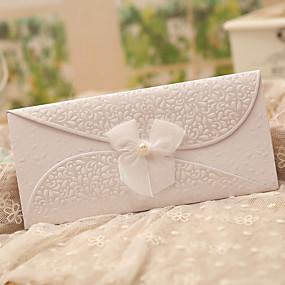economico Regali per feste-Piegato in tre Inviti di nozze Invito Cards Classico Farfalle Fantasia Carta perlata Nastri