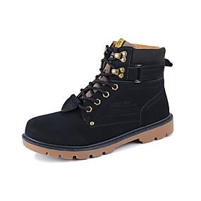billige Herrestøvler-Herre Komfort Sko Lær Vår Britisk Støvler Tursko Sklisikker Ankelstøvler Svart / Brun / Gul / Snøring / Combat-boots / EU40