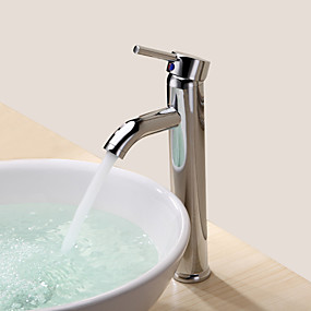 billige Ugentlige tilbud-Baderom Sink Tappekran - Roterbar Krom Centersat Et Hull / Enkelt Håndtak Et HullBath Taps