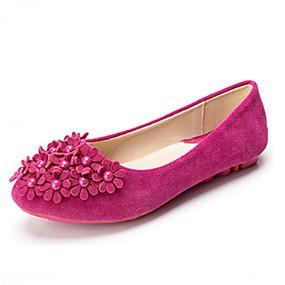abordables Chaussures Plates pour Femme-Femme Similicuir Printemps / Eté Confort Ballerines Marche Talon Plat Imitation Perle Jaune / Fuchsia / Rose / EU37