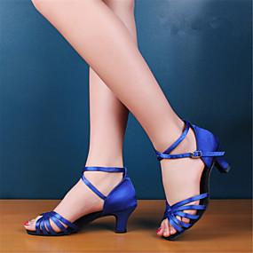 abordables Chaussures de Danse-Femme Chaussures de danse Satin Chaussures Latines / Chaussures de Salsa Talon Talon Bottier Non Personnalisables Noir / Rouge / Bleu royal / Cuir / EU42