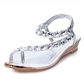 cheap Women's Sandals-Women's PU(Polyurethane) Summer Comfort Sandals Flat Heel Crystal Silver / Golden