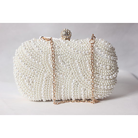 a3409d0b7a2 Women's Bags Satin Evening Bag Beading / Pearl / Imitation Pearl Solid  Colored White-Beige-Red