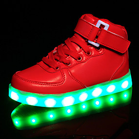 cheap Kids' Shoes-Girls' Shoes Synthetics Spring Comfort / Light Up Shoes Sneakers Hook & Loop / LED for White / Black / Red / Rubber