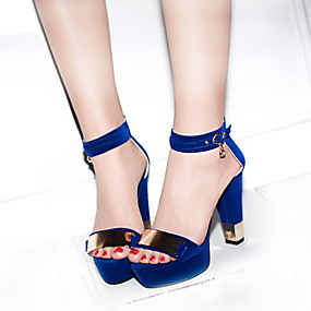 2bc83605e36 Women s Shoes PU(Polyurethane) Spring   Summer Sandals Chunky Heel Peep Toe  Metallic Toe Black   Red   Blue   Party   Evening   Party   Evening