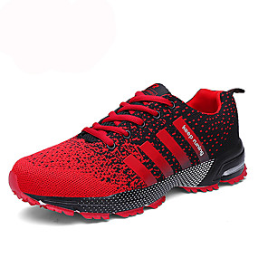 cheap Running Shoes-Men's PU(Polyurethane) Fall / Winter Comfort Athletic Shoes Tennis Shoes Slip Resistant Black / Red / Black / White