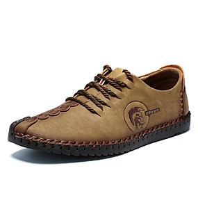 voordelige Wijdere maten schoenen-Heren Leren schoenen Microvezel Lente / Herfst Oxfords Antistatisch Zwart / Geel / Khaki / Veters / Comfort schoenen / EU42