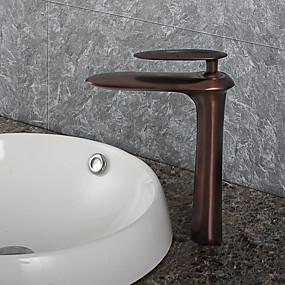 billige Ugentlige tilbud-Baderom Sink Tappekran - Utbredt Olje-gnidd Bronse Centersat Et Hull / Enkelt Håndtak Et HullBath Taps