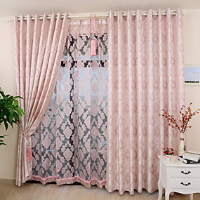 cheap Sale-Custom Made Eco-friendly Curtains Drapes Two Panels  Gold / Jacquard / Bedroom