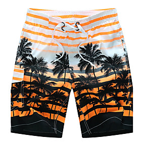 cheap Under $13.99-Men's Active / Boho Plus Size Cotton Loose / Shorts Pants - Striped Orange / Summer / Beach