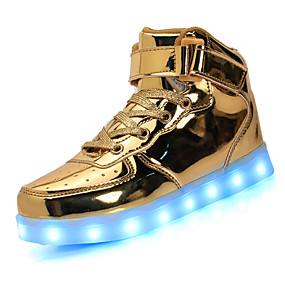 voordelige Wijdere maten schoenen-Unisex Sneakers Lage hak Ronde Teen Veters / LED Kunstleer Comfortabel / Lichtzolen / Oplichtende schoenen Wandelen Lente / Zomer / Herfst Zwart / Wit / Goud