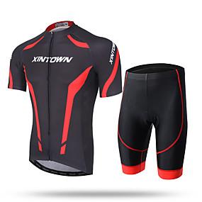 de21223e22 Χαμηλού Κόστους Άθληση και ύπαιθρος-XINTOWN Ανδρικά Κοντομάνικο Φανέλα και  σορτς ποδηλασίας - Λευκό Κόκκινο