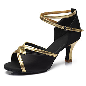 17c0a991da90 cheap Dance Shoes-Women  039 s Latin Fabric Leatherette Sandal Heel  Performance Buckle