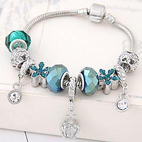 baratos Pulseira de Charme-Mulheres Pulseiras com Pendentes Flor senhoras Fashion Strass Pulseira de jóias Azul Para Festa Aniversário