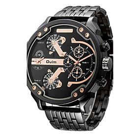 ราคาถูก -0.1-Oulm สำหรับผู้ชาย นาฬิกาแนวสปอร์ต นาฬิกาทหาร นาฬิกาข้อมือ สแตนเลส ดำ / Rose Gold 30 m กันน้ำ แสดงสองเวลา เท่ห์ ระบบอนาล็อก ความหรูหรา วินเทจ ไม่เป็นทางการ กำไล แฟชั่น - สีดำและสีทอง ดำ / ขาว Rose Gold