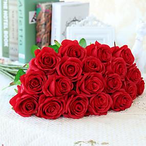 رخيصةأون خصم 50%-زهور اصطناعية 10 فرع الطراز الأوروبي الورود أزهار الطاولة