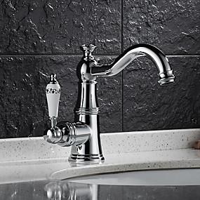 billige Ugentlige tilbud-Baderom Sink Tappekran - Roterbar Krom Centersat Enkelt Håndtak Et Hull