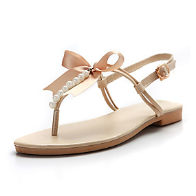 dc2bf16b98 Women s Shoes PU Spring   Summer Slingback Sandals Flat Heel Round Toe  Bowknot Gold   Beige   Brown   Party   Evening   Party   Evening
