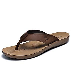 baratos Sandálias e Chinelos Masculinos-Homens Sapatos Confortáveis Pele Primavera / Verão / Outono Chinelos e flip-flops Água Castanho Claro