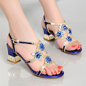 cheap Women's Sandals-Women's Nappa Leather / Glitter Summer Club Shoes Sandals Chunky Heel Rhinestone Gold / Purple / Blue / Party & Evening / Party & Evening
