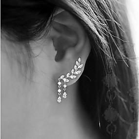 Χαμηλού Κόστους Κοσμήματα&Ρολόγια-Γυναικεία Cubic Zirconia Κουμπωτά Σκουλαρίκια Ορειβάτες των αυτιών Σκουλαρίκια ορειβατών Σκουλαρίκια Leaf Shape Κρεμαστό Φτηνός κυρίες Απλός Θύσανος Κομψό Bling Bling Καθημερινό Κοσμήματα