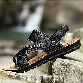 povoljno Muške sandale-Muškarci Udobne cipele Koža Proljeće / Ljeto Sandale Hodanje Crn / Braon / Žutomrk / Kauzalni / Zakovica / Vanjski / EU40