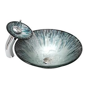 billige Fritstående håndvask-Badeværelse Håndvask / Badeværelse Vandhane / Badeværelse Monteringsring Moderne - Hærdet Glas Rund Vessel Sink