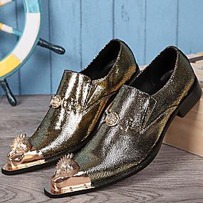 baratos Oxfords Masculinos-Homens Sapatos formais Pele Napa Primavera / Outono Vintage Oxfords Dourado / Prata / Festas & Noite / Festas & Noite / Ao ar livre
